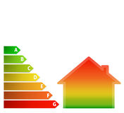 Energy performance scale with a house. Illustration of energy performance scale with a gradient house Stock Photos