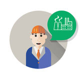 Illustration of engineer and speech bubble. Royalty Free Stock Images