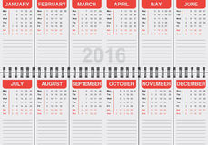 Illustration of English calendar 2016. Graphic illustration of English calendar 2016 Royalty Free Stock Image