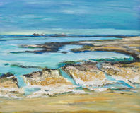 Illustration of an English seascape with chalk rocks Royalty Free Stock Images