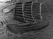 Illustration of an engraved ship scene Stock Images