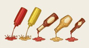 Illustration of an engraving style set of different sauces are poured from bottles. Ketchup, mayonnaise, mustard, chilli sauce and others Stock Photos