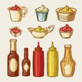 Illustration of an engraving style set of different sauces in saucepans and bottles Stock Photo