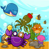 Illustration Enjoyed under the sea. Illustration cartoon Enjoyed under the sea Stock Images