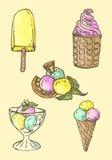 Illustration Ensemble de crême glacée assorti rétro Photographie stock libre de droits