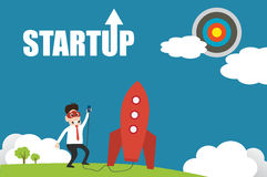 Illustration of entrepreneurship, start up business man concept. Character design of business man with cloud mask try to ignite rocket to reach target icons Stock Photos