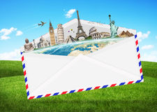 Illustration of an envelope full of famous monument Royalty Free Stock Images