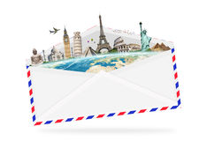 Illustration of an envelope full of famous monument Stock Photography
