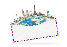 Illustration of an envelope full of famous monument Stock Images