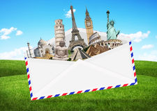 Illustration of an envelope full of famous monument Stock Image