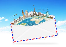 Illustration of an envelope full of famous monument Stock Image