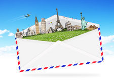 Illustration of an envelope full of famous monument Royalty Free Stock Image