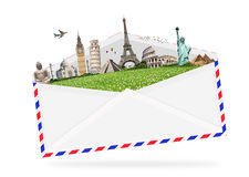 Illustration of an envelope full of famous monument Stock Photos