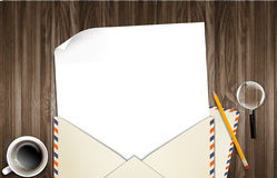 Illustration of envelope and paper on table Stock Photo
