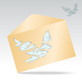 Illustration of envelope with pigeon. Stock Photography