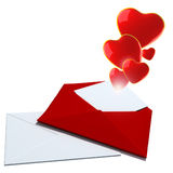 Illustration with envelope and red hearts Royalty Free Stock Image
