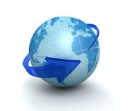 Illustration environnante de la flèche 3d de globe Images stock