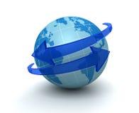 Illustration environnante de la flèche 3d de globe Image libre de droits
