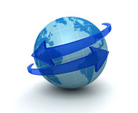 Illustration environnante de la flèche 3d de globe illustration stock