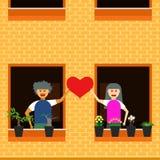 Illustration eps10 för vektor för förälskelsepargrannhuset stock illustrationer