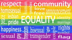 Illustration of Equality word lettering on lgbt flag colors background stock photos