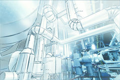 Illustration of Equipment, cables and piping inside power plant Royalty Free Stock Photography