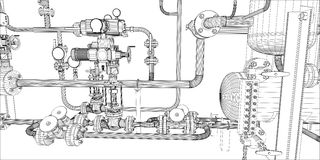 Illustration of equipment for heating system Stock Image