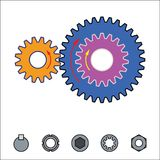 Gear train provides the desired motion. illustration vector Royalty Free Stock Images