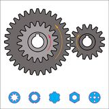 Gear train provides the desired motion. illustration vector Royalty Free Stock Photo