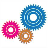 Gear train provides the desired motion. illustration vector Royalty Free Stock Photos