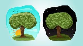 Illustration espiègle d'arbre de bande dessinée avec du temps 2 différent : jour, nuit Photo libre de droits