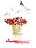 Illustration esquissant des cigognes sur le toit de la maison Image libre de droits