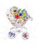 Illustration esquissant la poussette pour transporter des nourrissons décorés des fleurs Images libres de droits