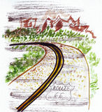Illustration esquissant la route soixante-six de point de repère aux Etats-Unis Image libre de droits