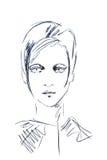Illustration esquissant le visage d'une fille avec les cheveux courts Illustration Stock