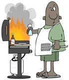 Ethnic man grilling hamburgers. Illustration of an ethnic man dealing with tall flames coming from his outdoor grill while cooking hamburgers stock illustration