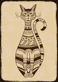 Illustration with ethnic patterned cat Royalty Free Stock Image