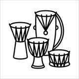 Illustration ethnique d'icône et de vecteur d'instrument de musique de tambours illustration de vecteur
