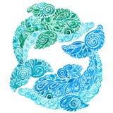 Illustration ethnique de Mehndi de griffonnage de dauphin d'aquarelle Photo stock