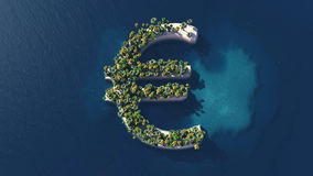 Illustration of a euro shaped island Stock Photography