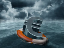 Euro rescue. Illustration of a euro symbol being saved from stormy weather Stock Photos