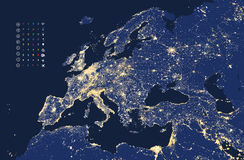 Illustration of Europe city and communication lights map Royalty Free Stock Photography