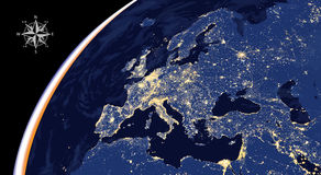 Illustration of Europe city lights map from space. Vector illustration of Europe city lights map from space Stock Image
