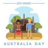 Australia Day on January 26th. Illustration of the European and the Australian aborigine that is holding the Australian flag in front of traditional aboriginal Stock Image