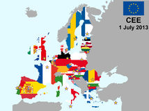 CEE 2013. Illustration of european union map with flags, from 1 july 2013 Royalty Free Stock Photography