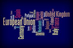 European Union word cloud. Illustration of Europena Union through tagcloud word cloud; countries-members of EU combined vector illustration