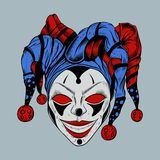 Illustration of evil clown in colored cap. Cartoon evil clown with red eyes in the colored foolscap scary smiling Stock Photos