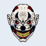 Illustration of evil clown with red eyes Stock Photos