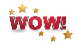 "Wow illustration. An illustration of the exclamation ""wow"" with stars on white background Stock Image"
