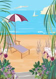 Illustration of the exotic coast Royalty Free Stock Photo